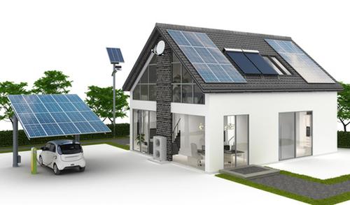 Energieversorgung Haus mit PV Solarcarport Waermepumpe Energiespeicher